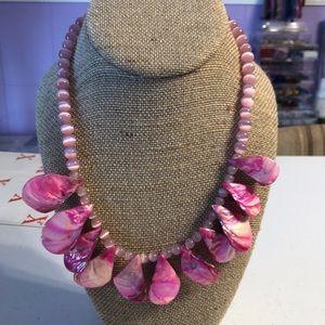 Fuchsia Shell Teardrop Necklace.